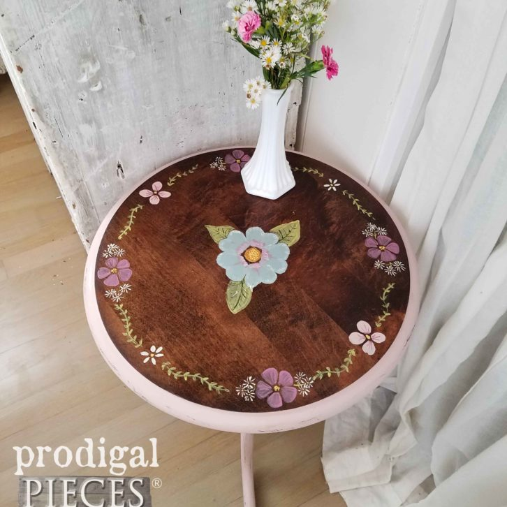 Hand-Painted Ethan Allen Table by Prodigal Pieces with floral design | prodigalpieces.com