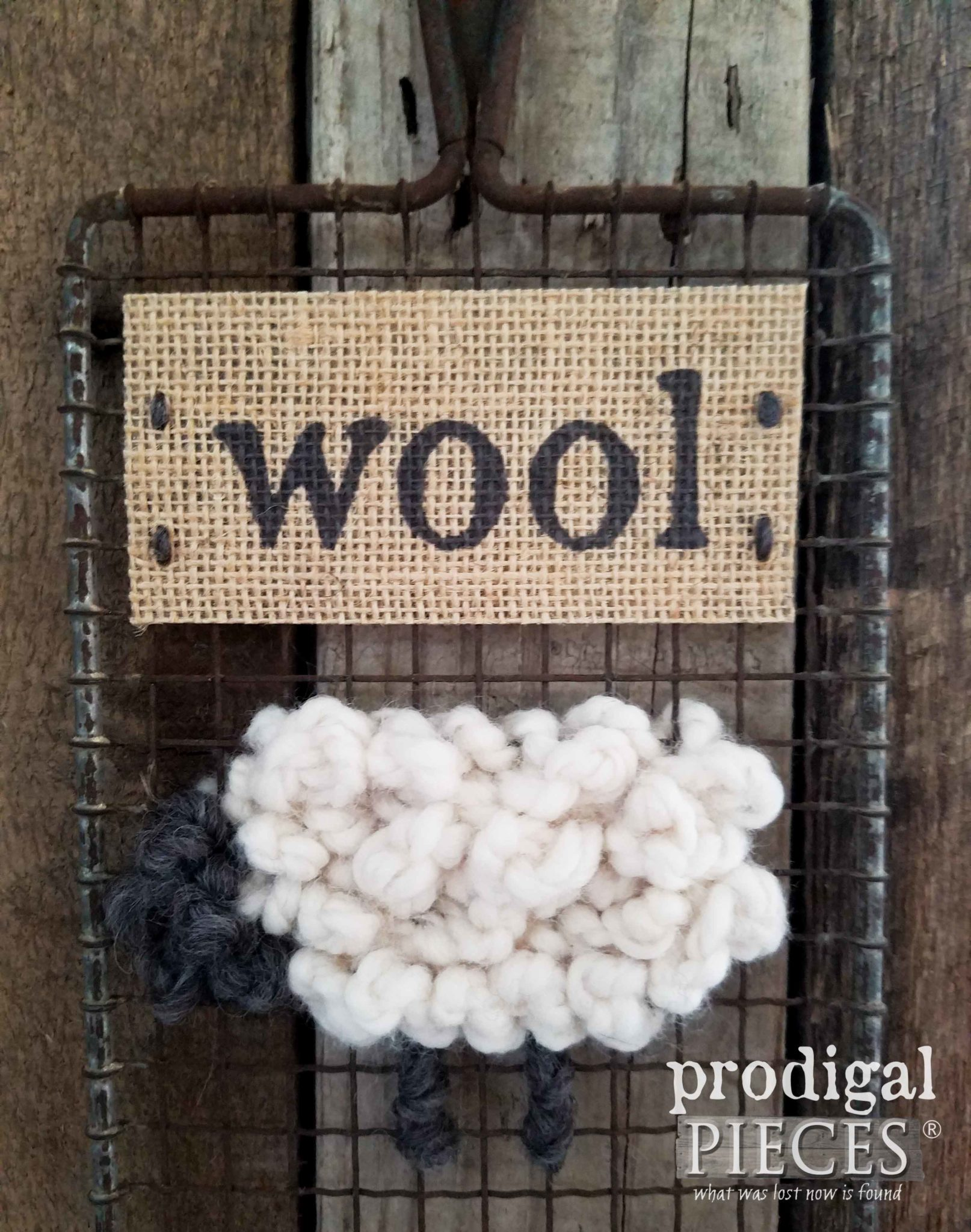Hand-Stitched Woolly Sheep on Mesh Screen by Prodigal Pieces | prodigalpieces.com