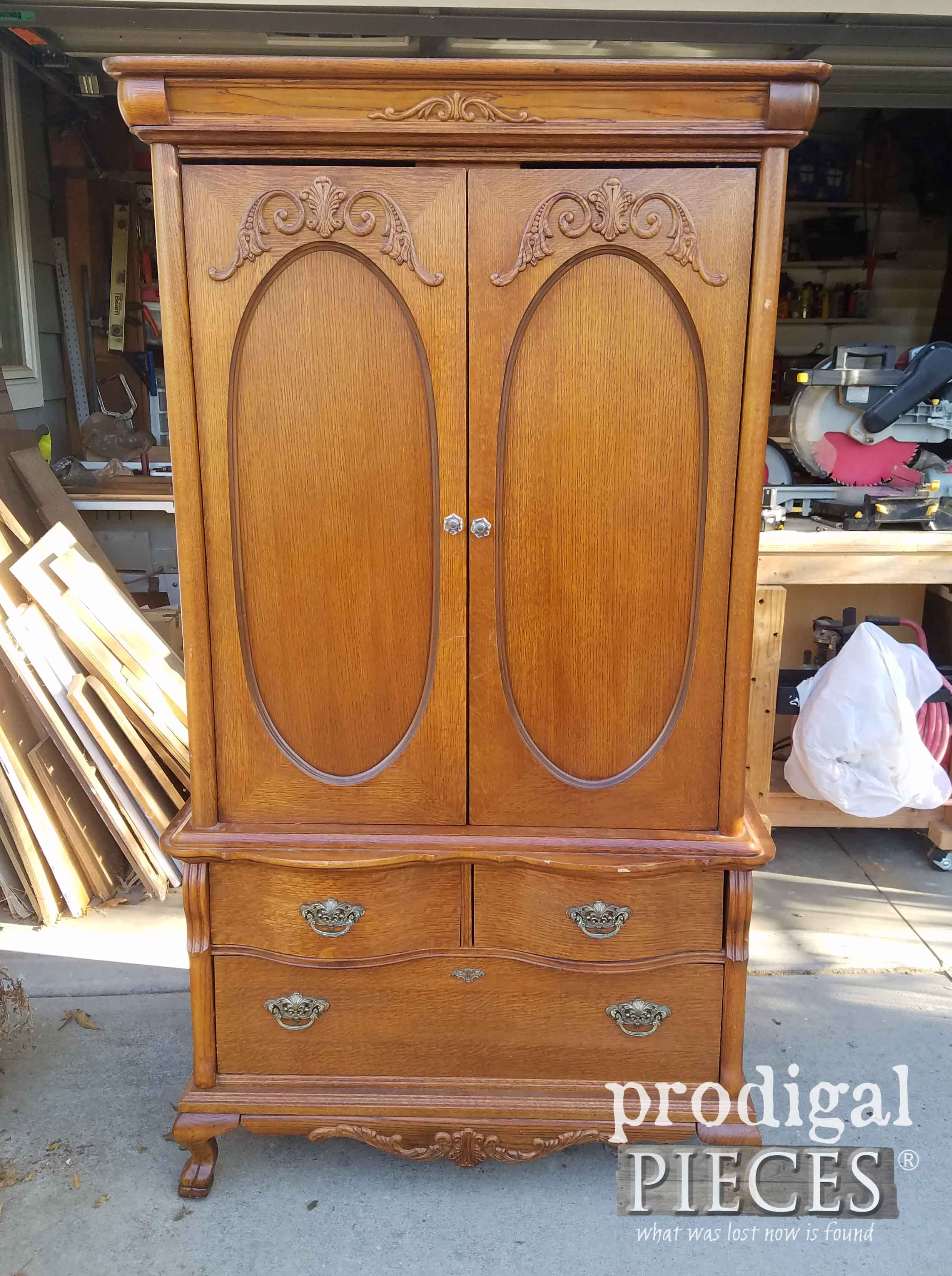 Lexington Entertainment Armoire Before Makeover by Prodigal Pieces | prodigalpieces.com