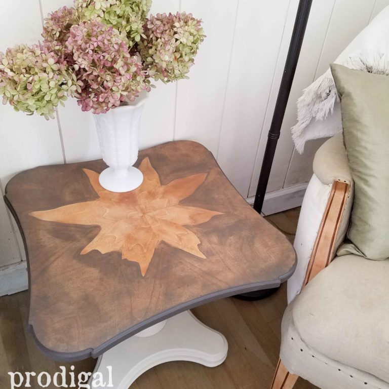 Natural Veneer Design on Mid Century Henredon Table by Prodigal Pieces | prodigalpieces.com