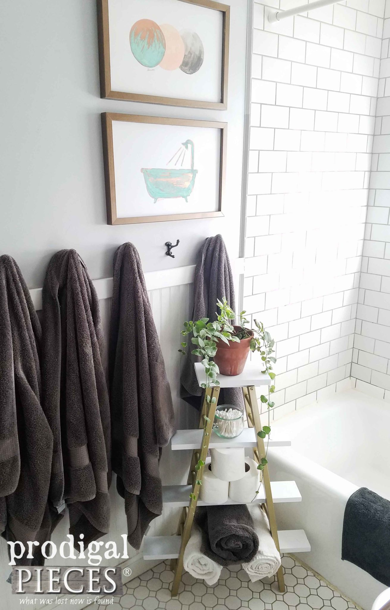 Modern Chic Bathroom with Upcycled Storage and DIY Wall Art by Prodigal Pieces | prodigalpieces.com
