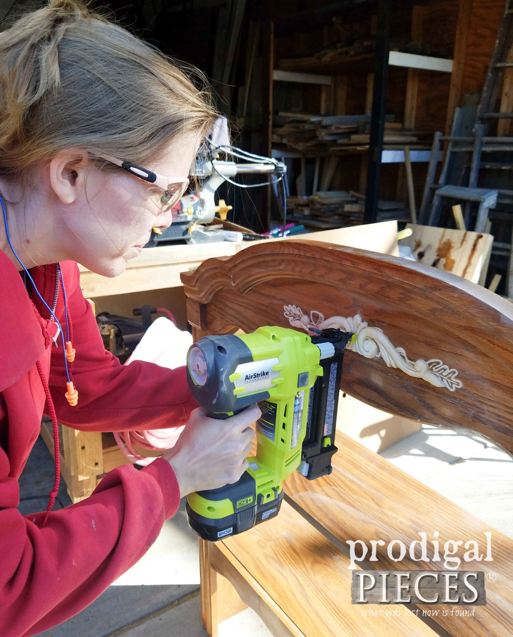 Nailing Wood Applique onto Broyhill Hutch Desk for Makeover by Larissa of Prodigal Pieces | prodigalpieces.com