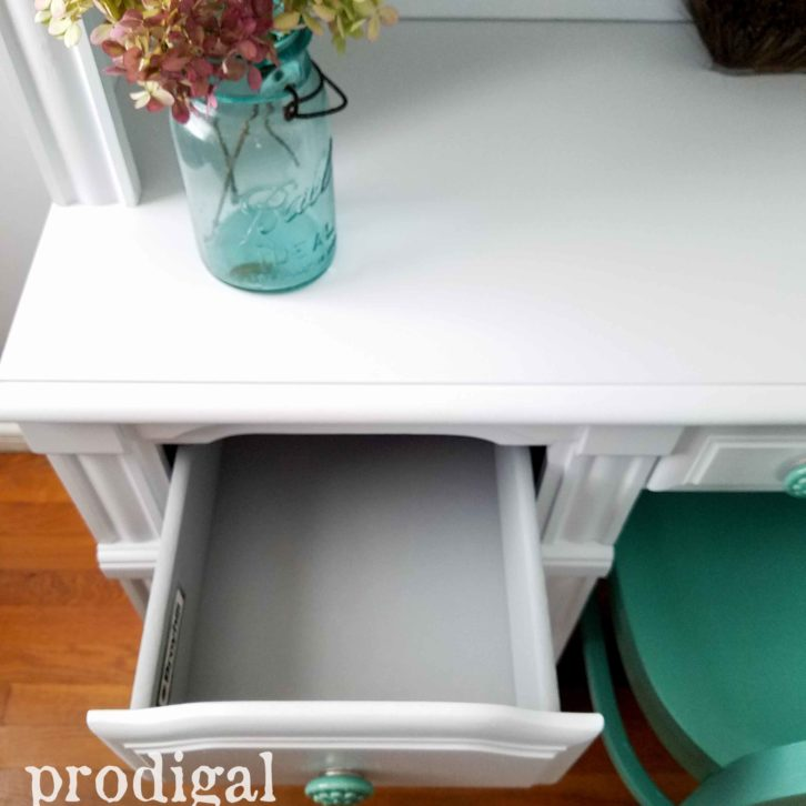 Painted Drawers of Vintage Hutch Desk by Prodigal Pieces | prodigalpieces.com
