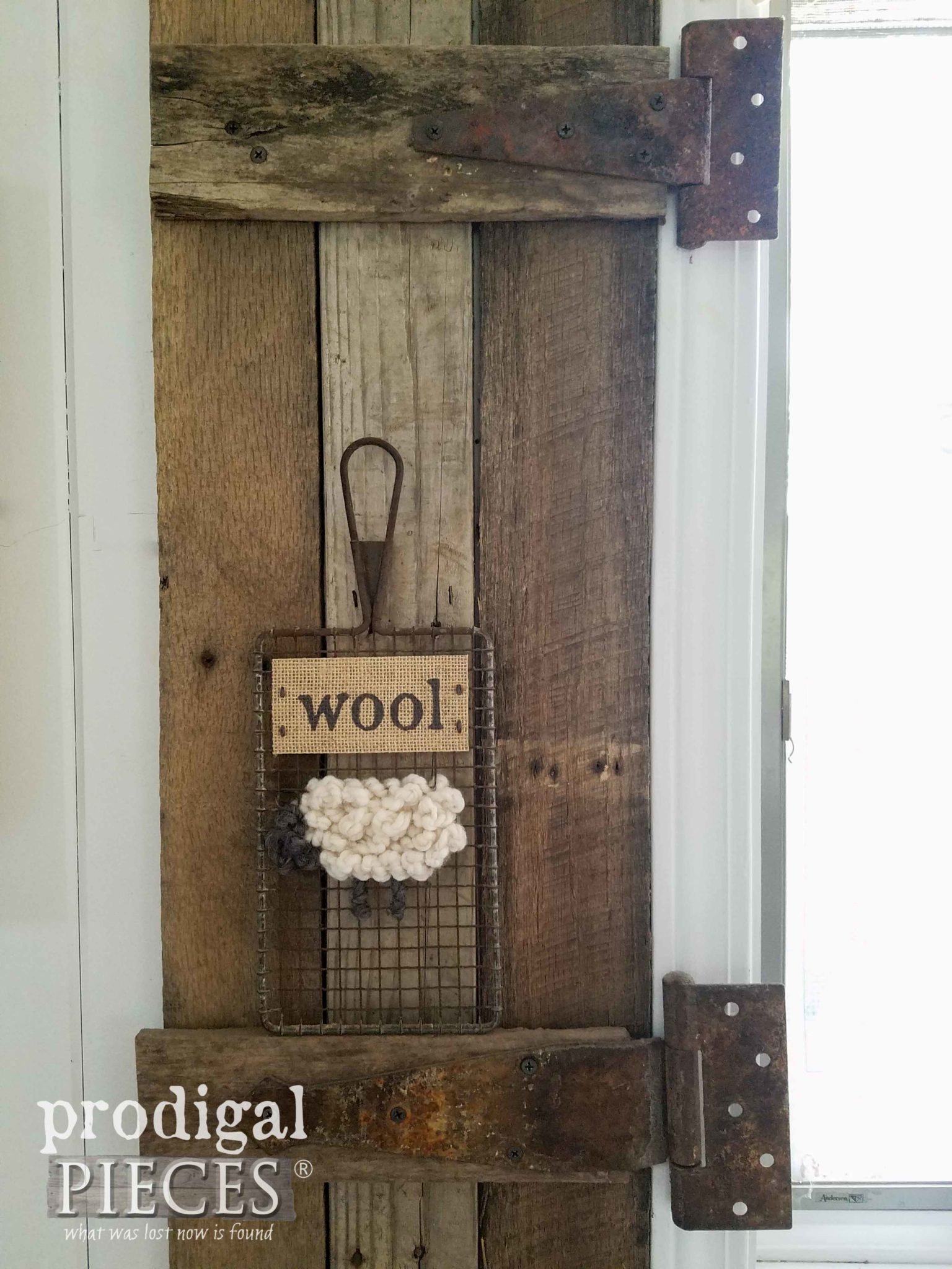Repurposed Mesh Sifter Turned into Wooly Sheep Wall Art by Prodigal Pieces | prodigalpieces.com