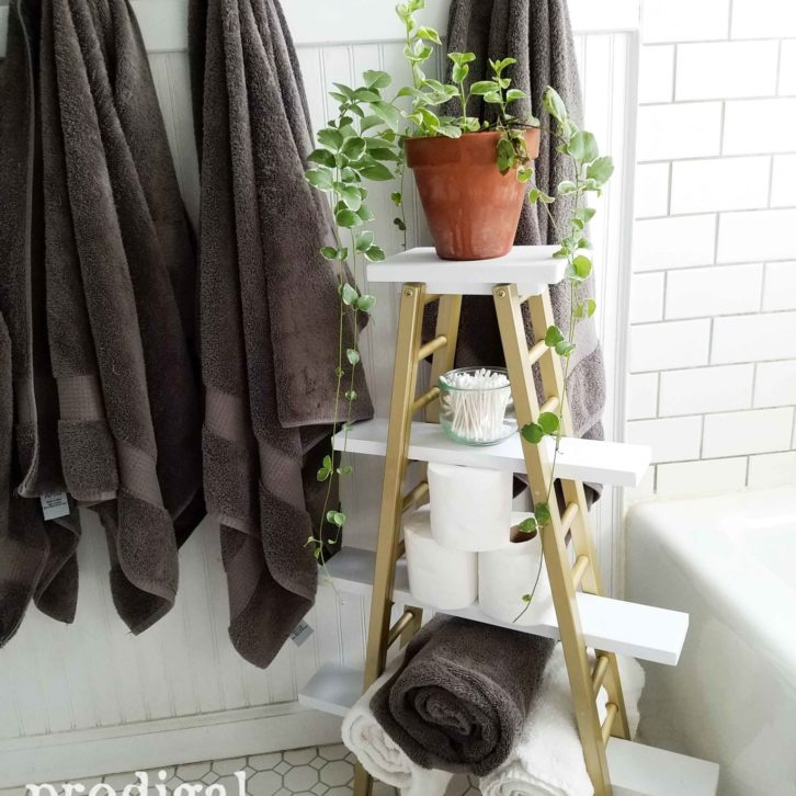 Repurposed Bathroom Storage for Towels, TP and more in a Modern Chic Bath by Prodigal Pieces | prodigalpieces.com