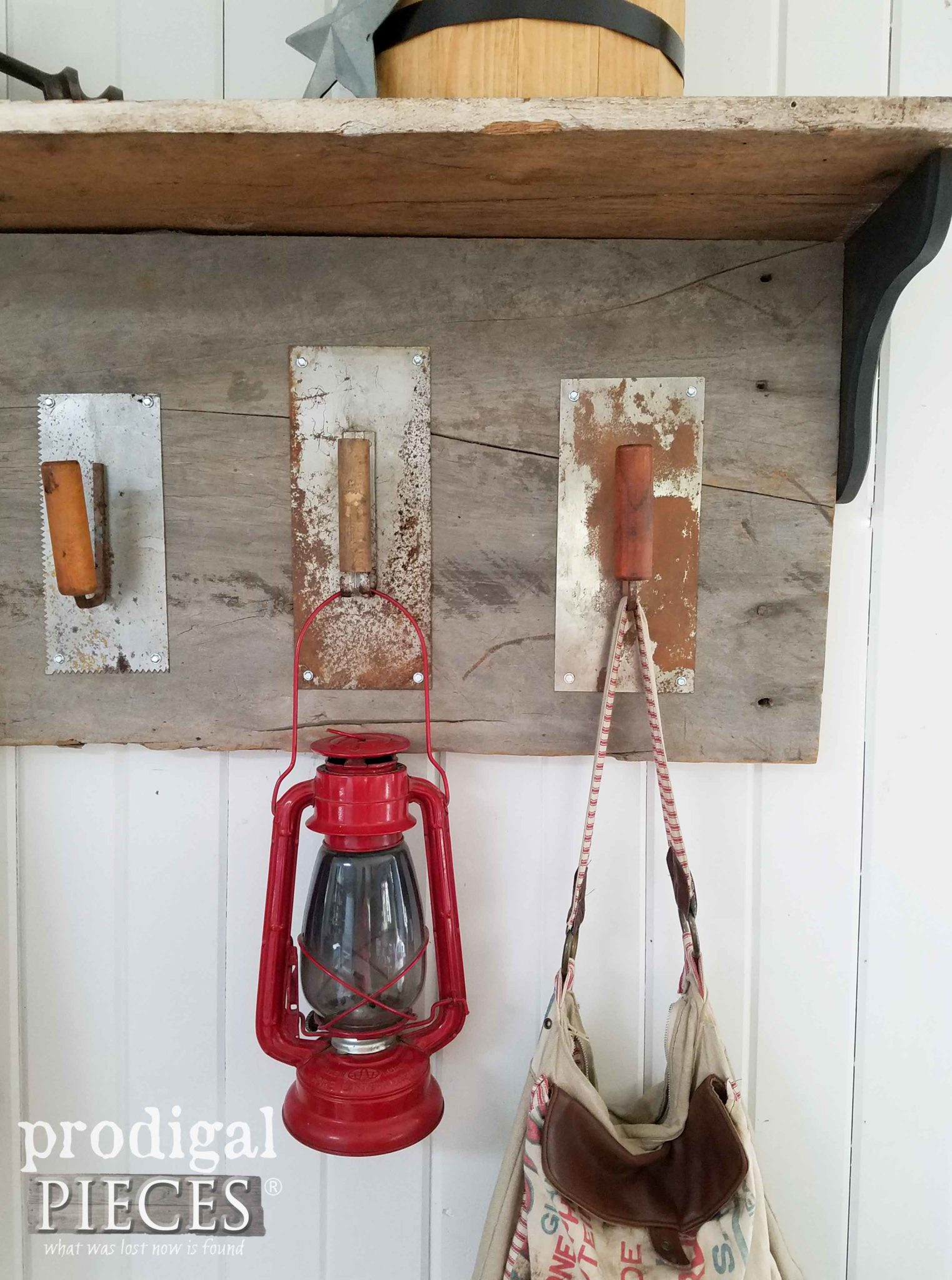 Barn Wood Coat Rack with Upcycled Trowel Coat Hooks by Prodigal Pieces | prodigalpieces.com