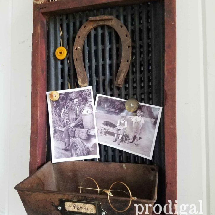 Reclaimed Message Center from Antique Corn Sifter by Prodigal Pieces   prodigalpieces.com