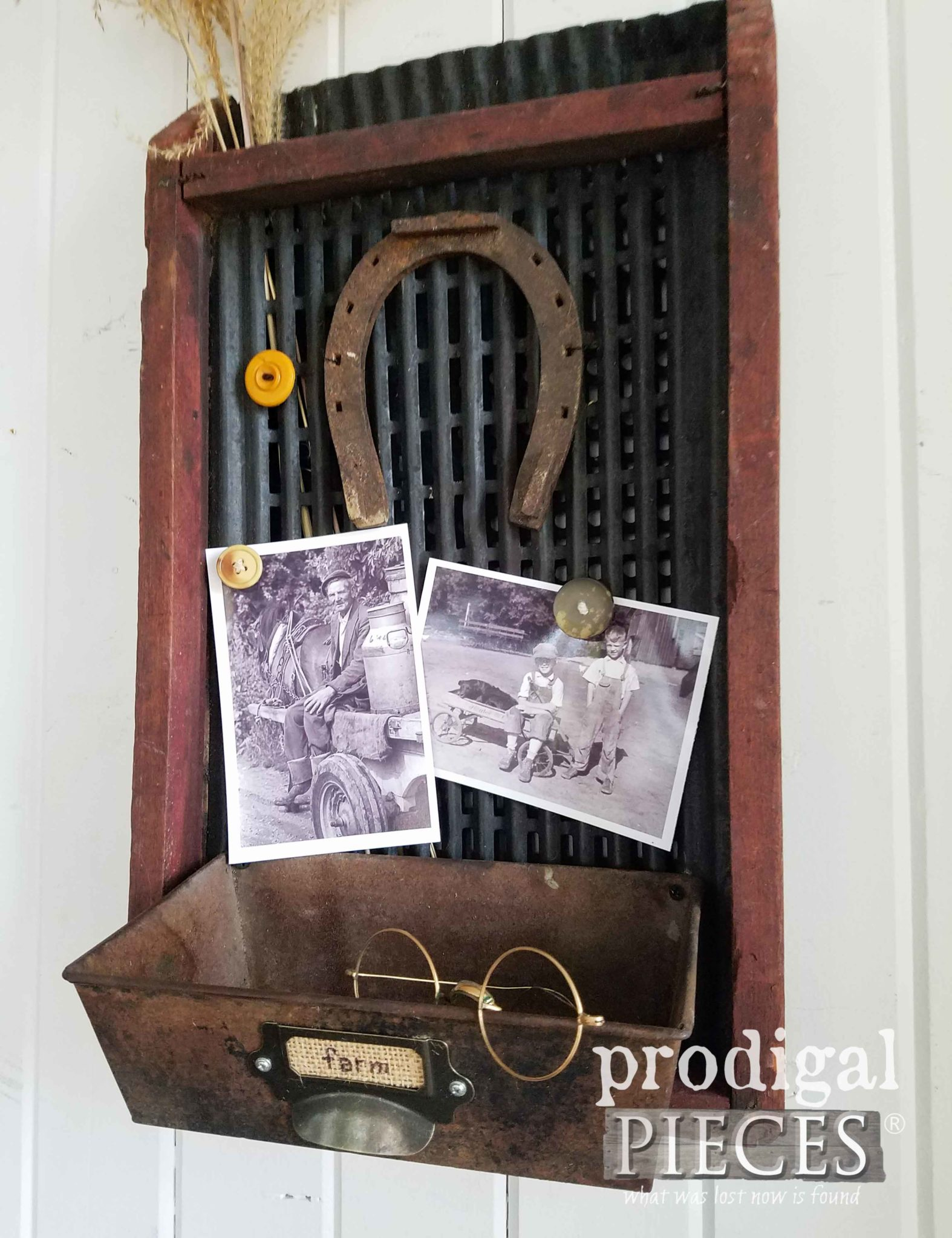 Reclaimed Message Center from Antique Corn Sifter by Prodigal Pieces | prodigalpieces.com