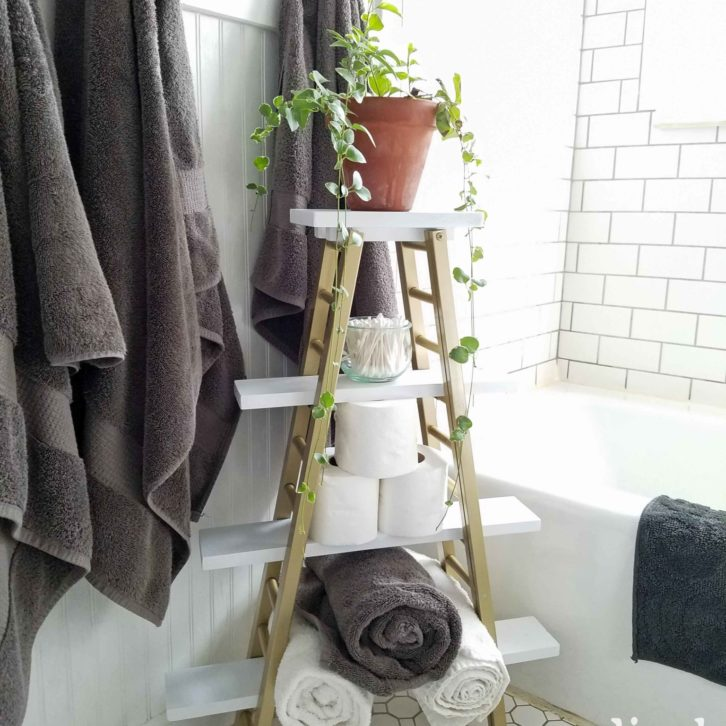 Repurposed Towel Rack for Modern Chic Storage Boho Bathroom Decor from Bed Rails by Prodigal Pieces | prodigalpieces.com