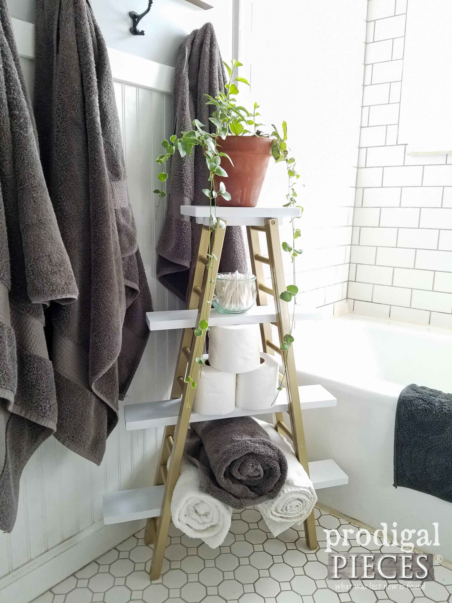 Repurposed Towel Rack for Modern Chic Boho Bathroom Decor from Bed Rails by Prodigal Pieces | prodigalpieces.com
