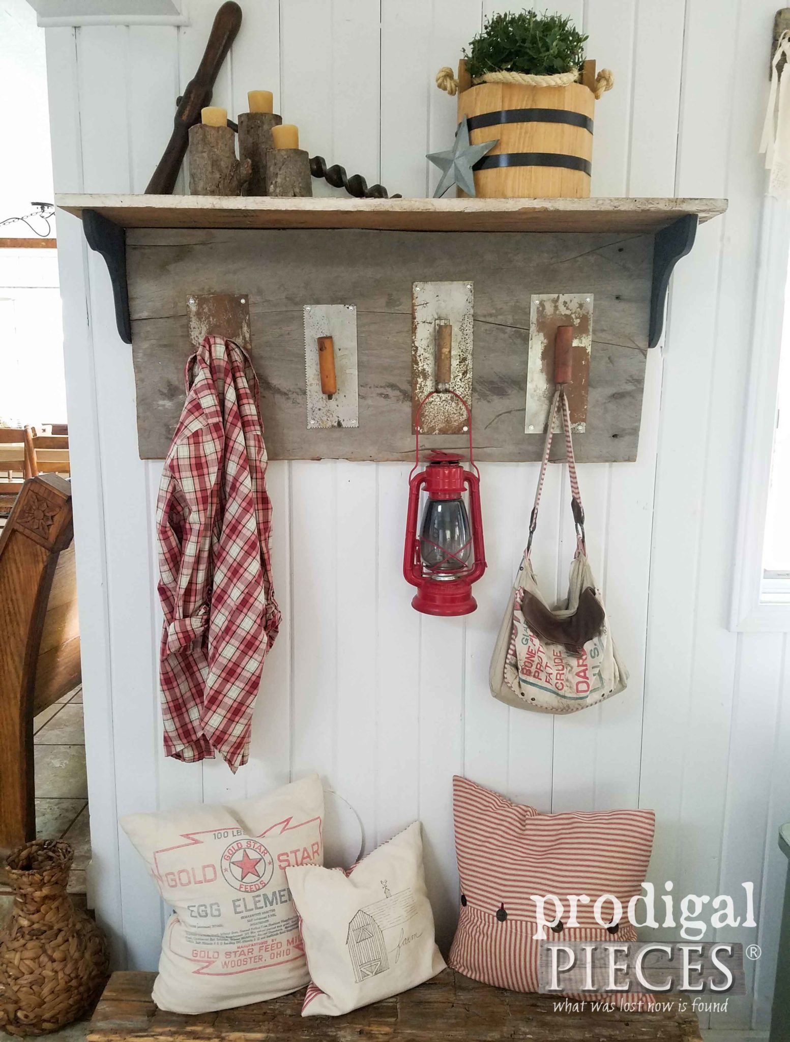 Rustic DIY coat rack made from repurposed trowels and reclaimed wood by Prodigal Pieces | prodigalpieces.com