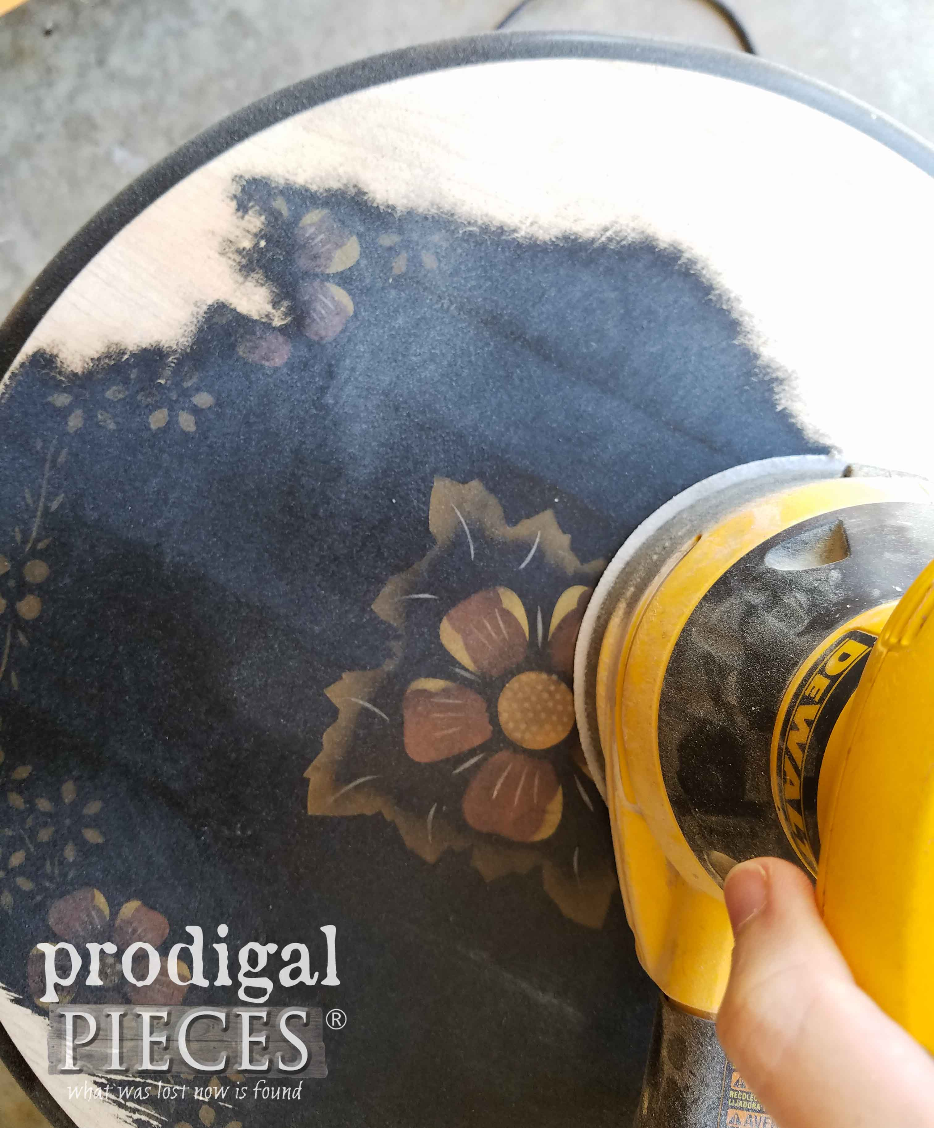 Sanding top of Ethan Allen Table | prodigalpieces.com