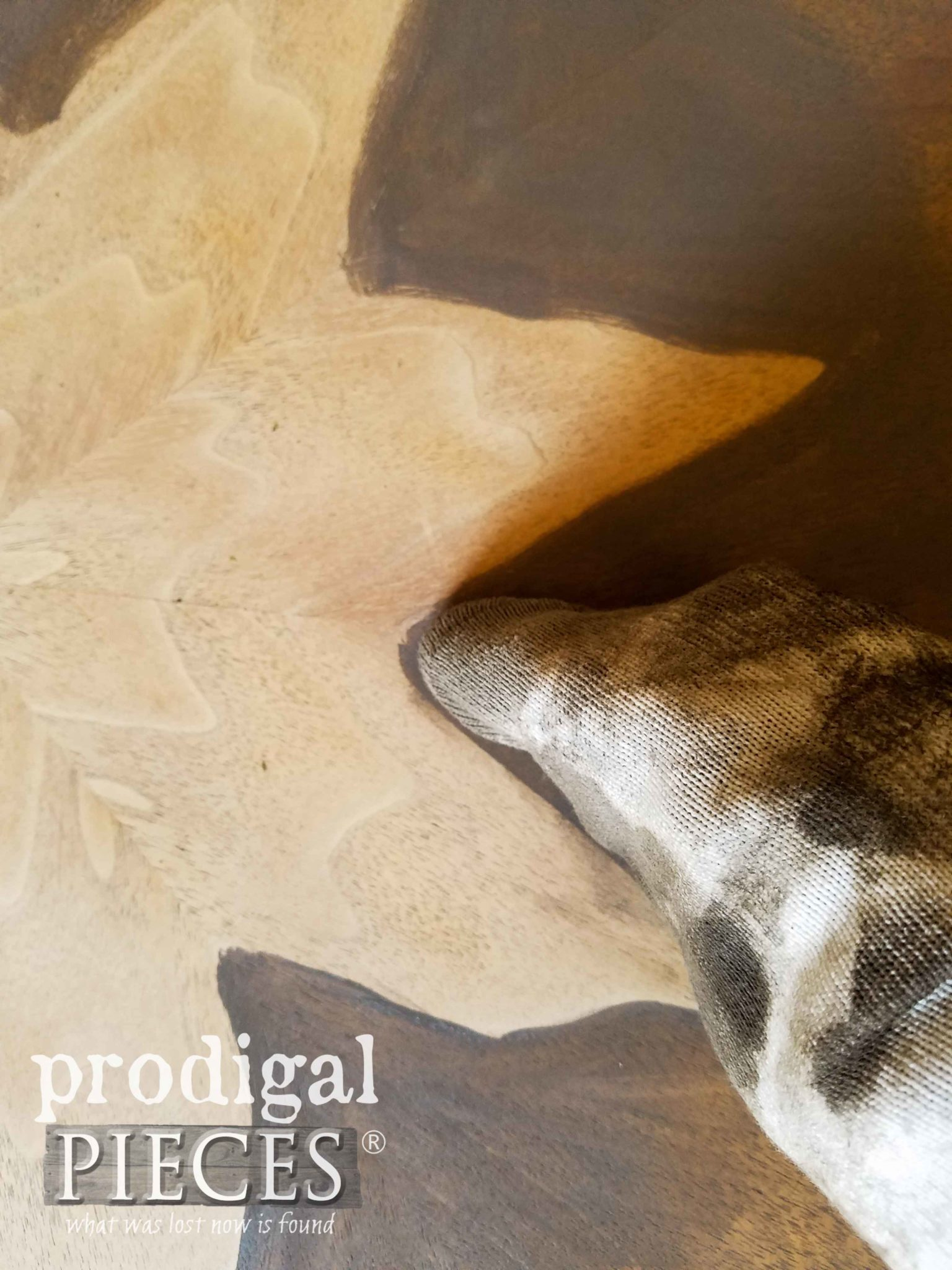 Staining Veneer Table with Briarsmoke Stain by Prodigal Pieces | prodigalpieces.com