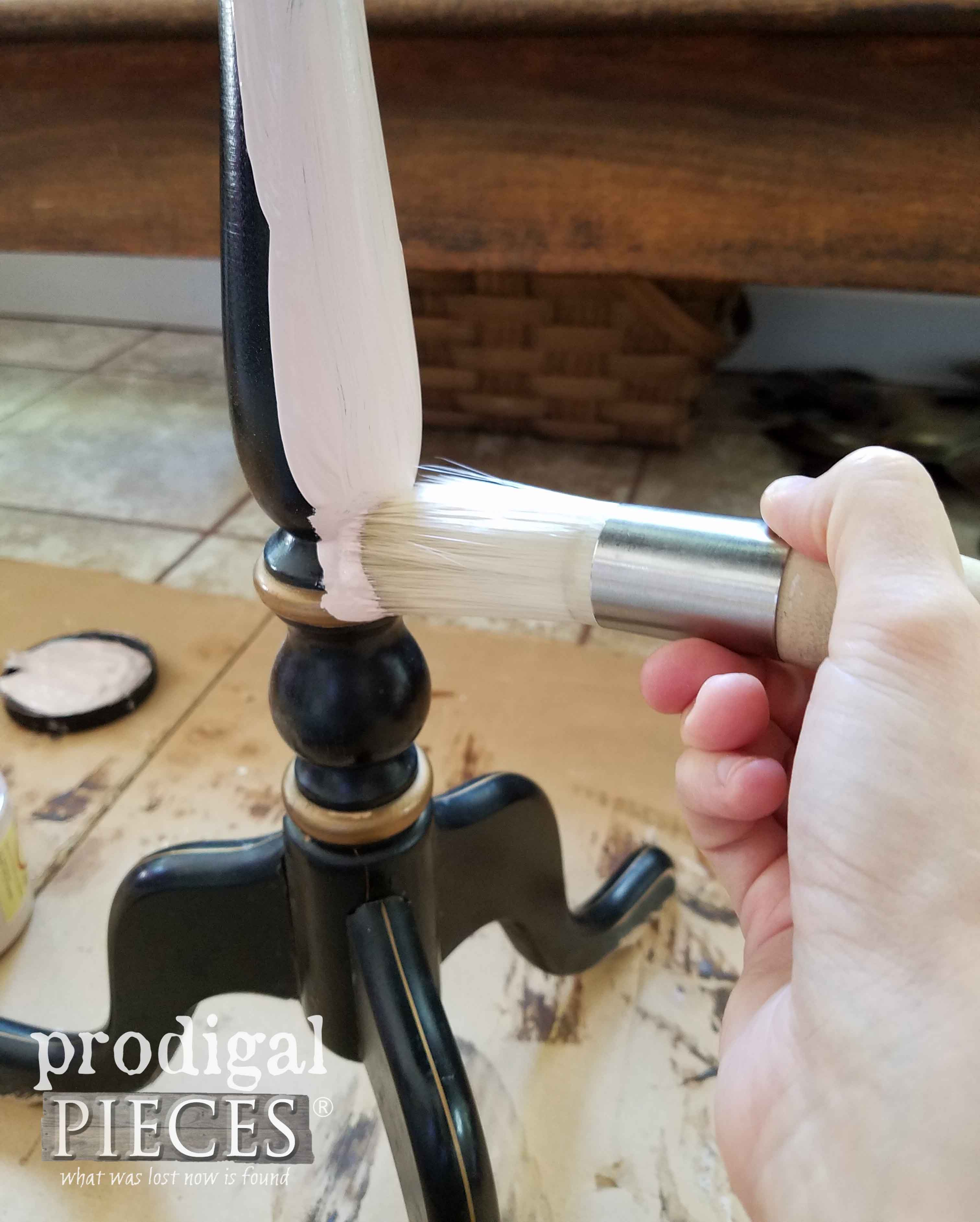 Painting Table Base with Round Zibra Brush | prodigalpieces.com