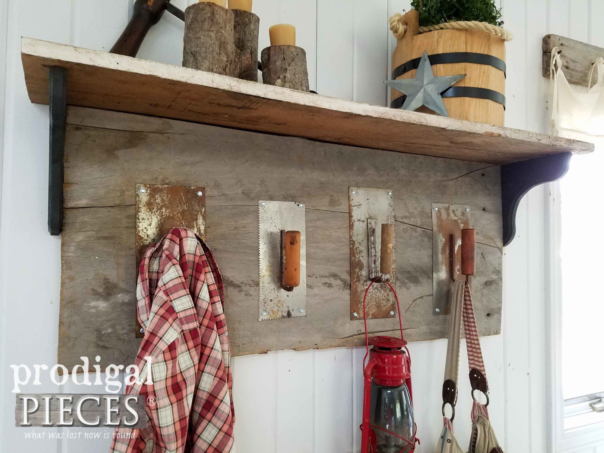 Upcycled Trowel Coat Rack with Shelf by Prodigal Pieces | prodigalpieces.com