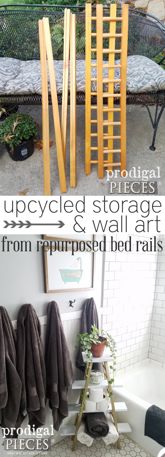 This is so cool! upcycled storage and DIY wall art all created from some cast-off bed rails. Perfect modern boho chic decor! See the details at Prodigal Pieces | prodigalpieces.com