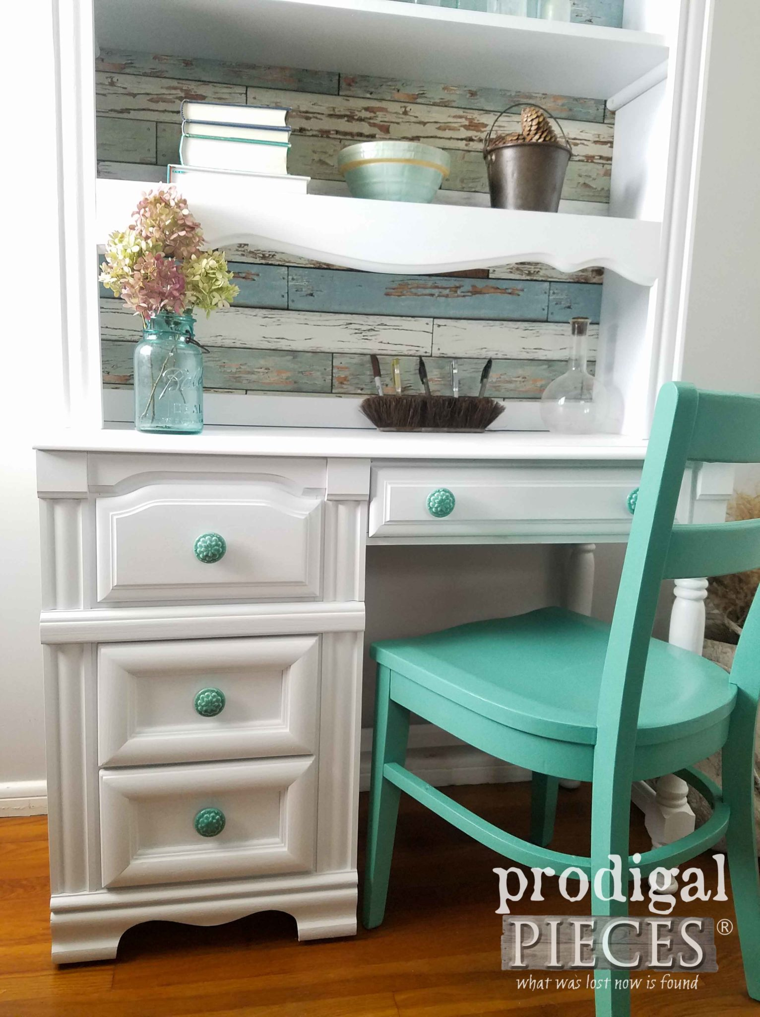 Add a pop of color with paint, pulls, and paper to your outdated furniture. Details at Prodigal Pieces | prodigalpieces.com