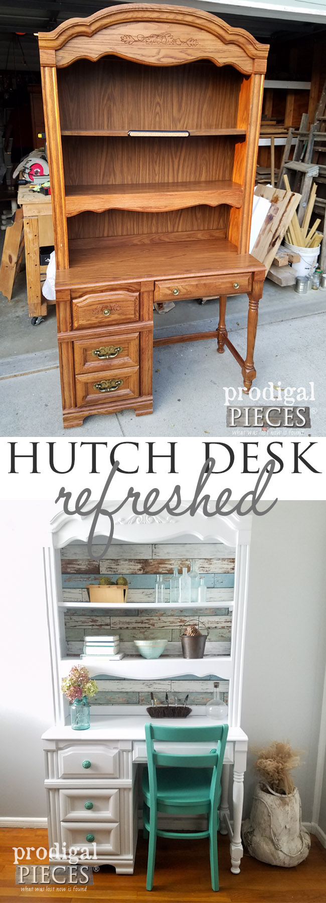 Oh my! This worn out looking Broyhill hutch desk has never looked so good. See how easy it can be to updated a dated piece with the help of Larissa at Prodigal Pieces | prodigalpieces.com