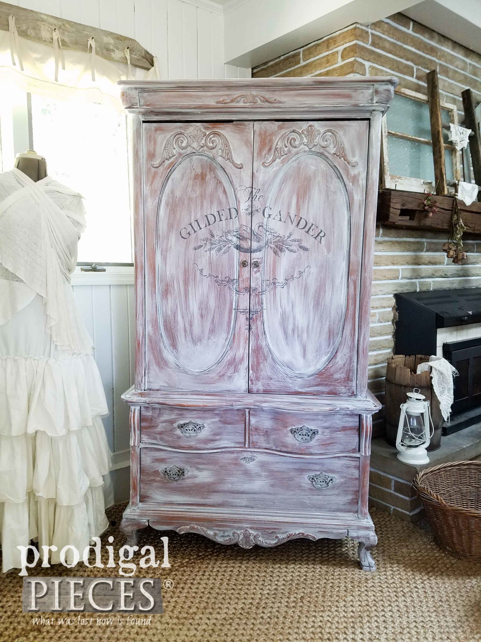 Look at this beautiful whitewashed French Country armoire by Prodigal Pieces. Get the DIY details at prodigalpieces.com
