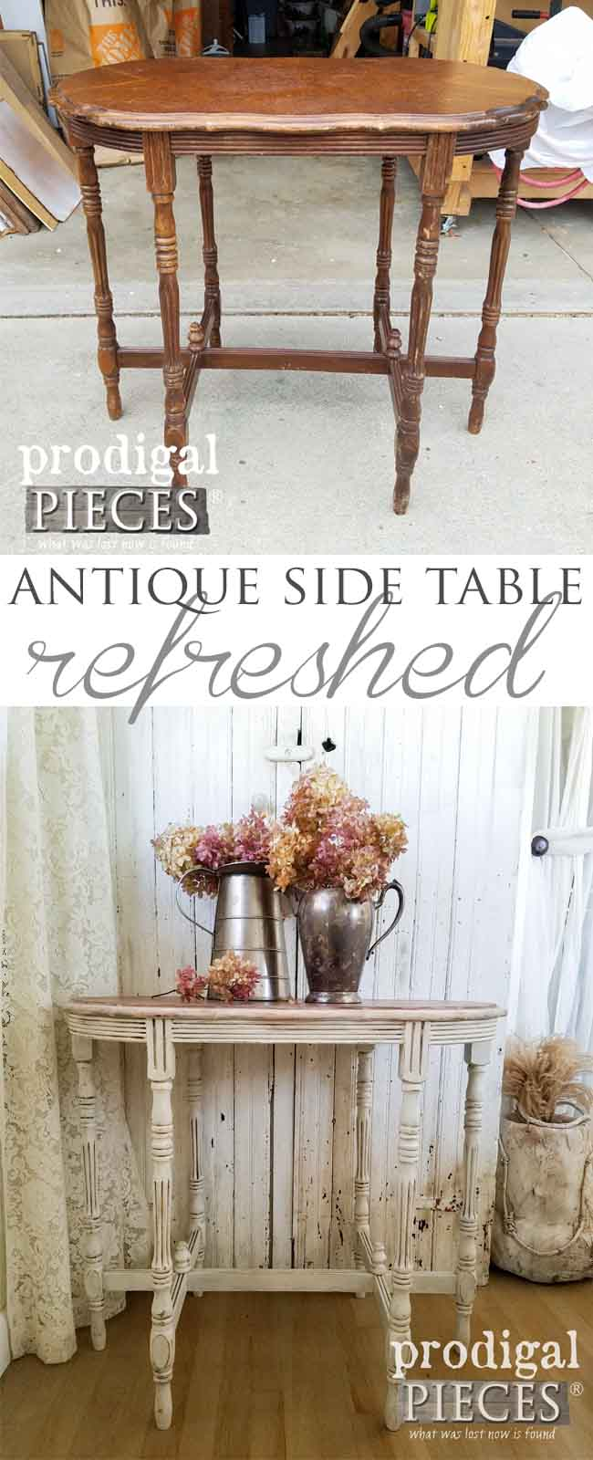 Oh, how beautiful! This side table needed some TLC and Larissa of Prodigal Pieces gave it a refreshed new look. Details at Prodigal Pieces | prodigalpieces.com