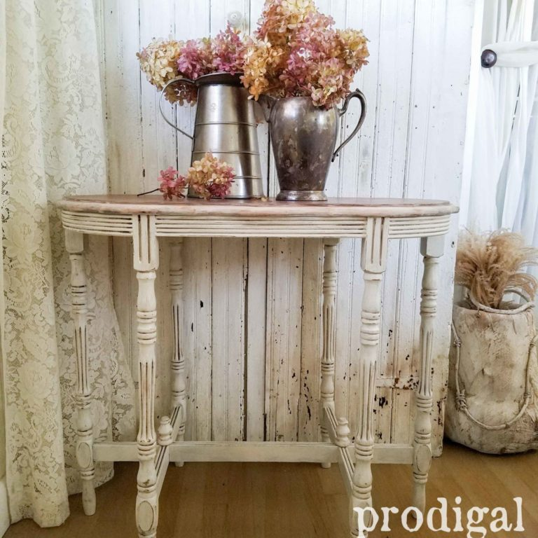 Antique Side Table with Time-worn Finish. Details at Prodigal Pieces | prodigalpieces.com