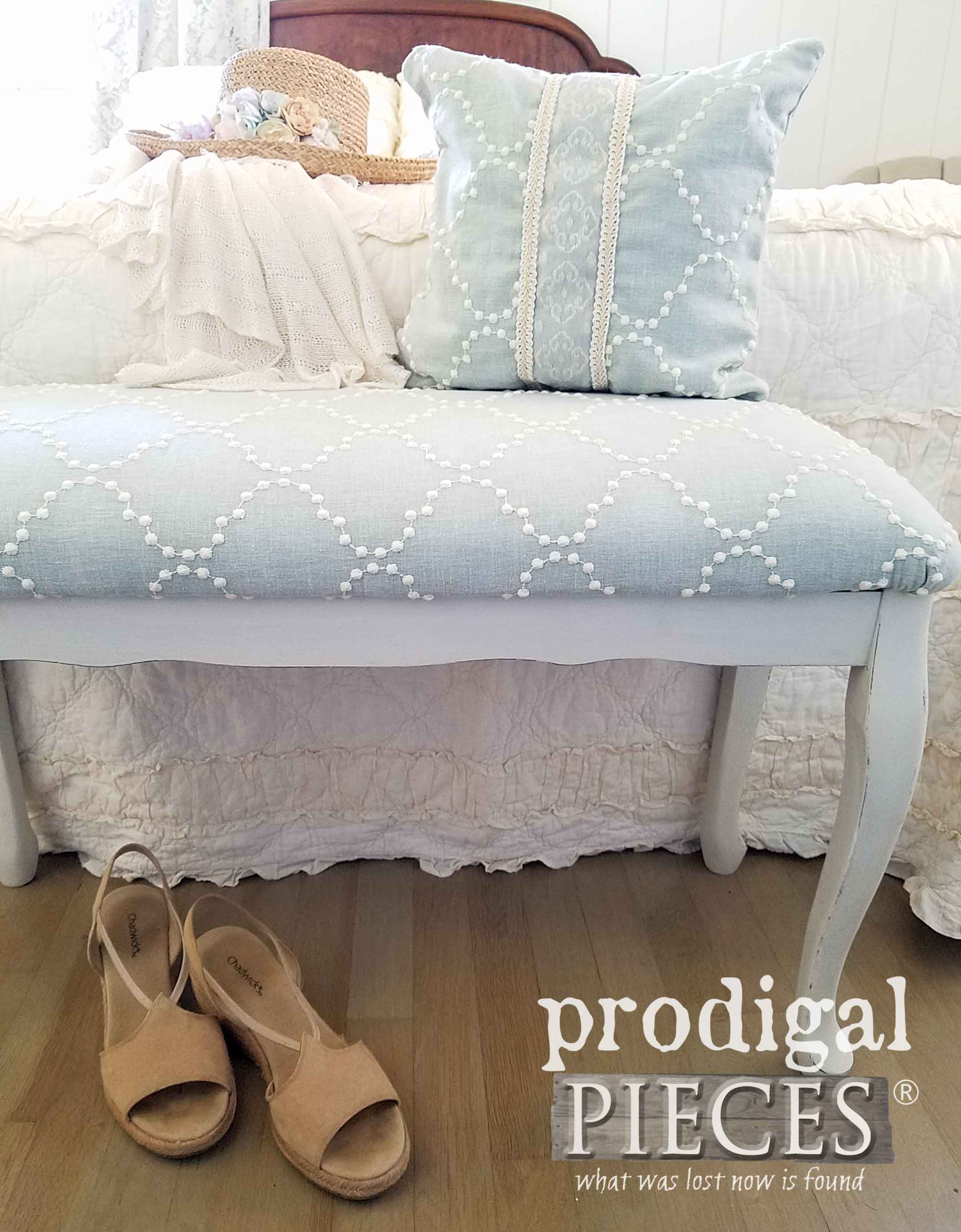 Cottage Style Upholstered Bench for Bedroom, Entry and More. Comes with Coordinating Pillow. By Larissa of Prodigal Pieces | prodigalpieces.com