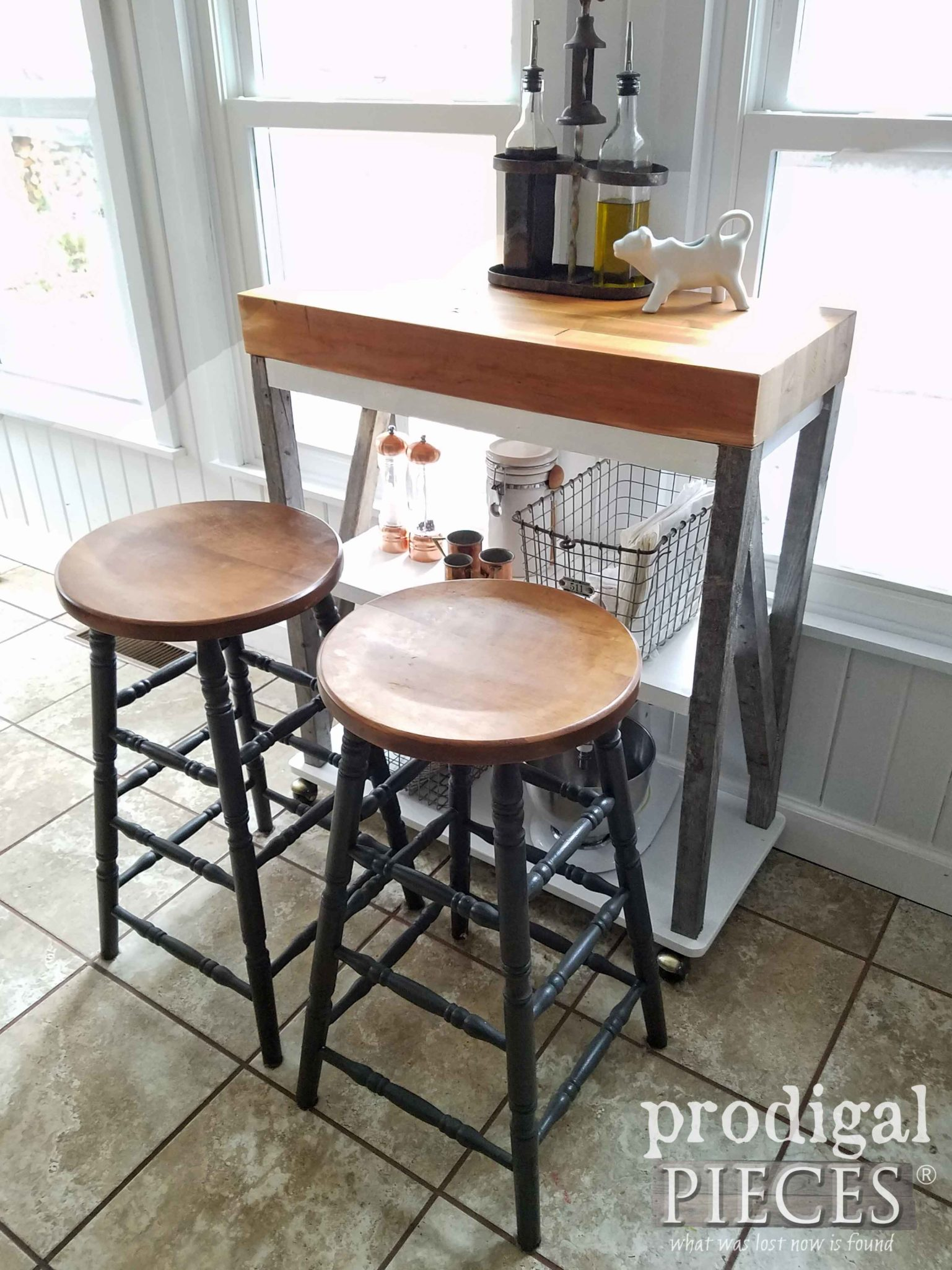 DIY Kitchen Coffee Bar Cart built with reclaimed wood by Larissa of Prodigal Pieces | prodigalpieces.com