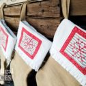 Set of 4 Embroidered Burlap Christmas Stockings by Larissa of Prodigal Pieces | prodigalpieces.com