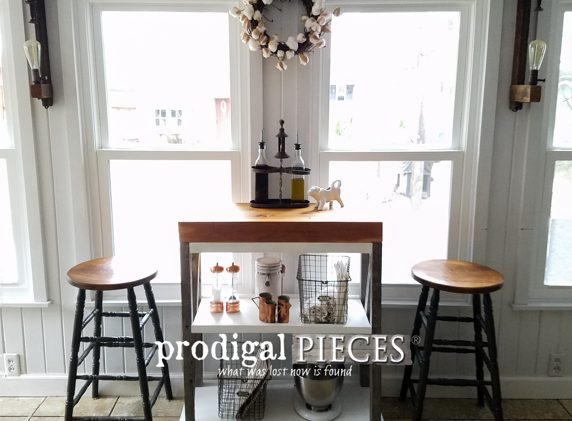Featured DIY Butcher Block Cart Made from Repurposed Materials by Prodigal Pieces | prodigalpieces.com