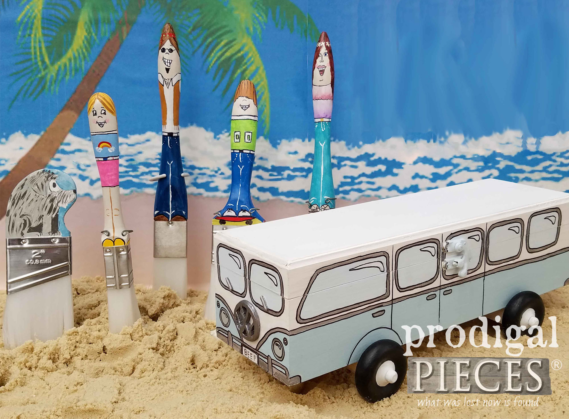 Featured Mini Beep Volkswagen Bus Brushes with Hippie Family by Larissa of Prodigal Pieces | prodigalpieces.com