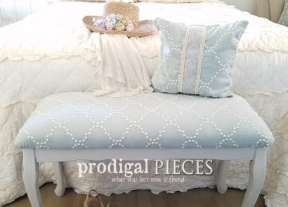 Featured Upholstered Headboard Updated with Fabric and Paint | prodigalpieces.com