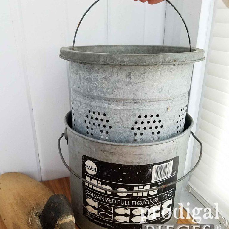 Galvanized Minnow Bucket by Min-O-Life | prodigalpieces.com