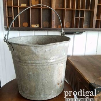 Vintage Farmhouse Galvanized Milking Pail for Compost, Planter, and so much more. Available at Prodigal Pieces | prodigalpieces.com