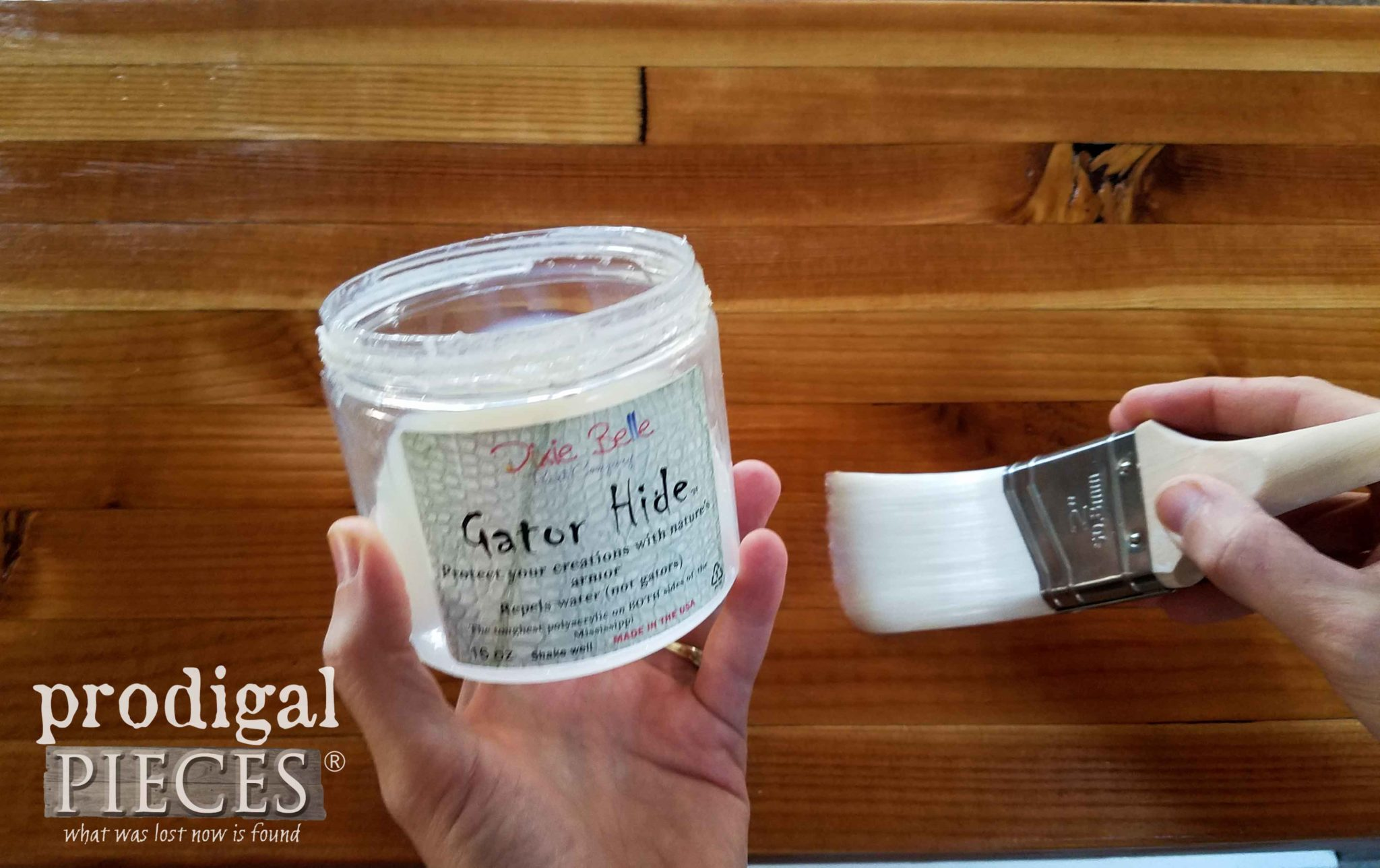 Dixie Belle Gator Hide for Topcoat of DIY Butcher Block Cart by Larissa of Prodigal Pieces | prodigalpieces.com