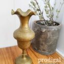 Hand Carved Brass Vase for Flower Buds ~ Made in India | Available at Prodigal Pieces | prodigalpieces.com