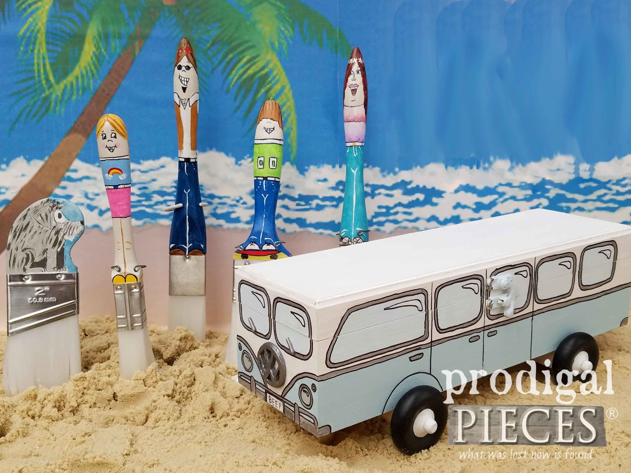 Hippie Volkswagen Bus with Paint Brush Hippie Family created by Larissa of Prodigal Pieces | prodigalpieces.com