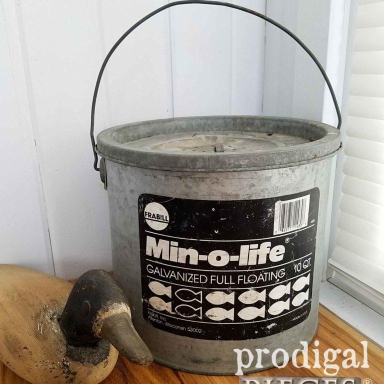 Vintage Galvanized Minnow Bucket by Min-O-Life | prodigalpieces.com