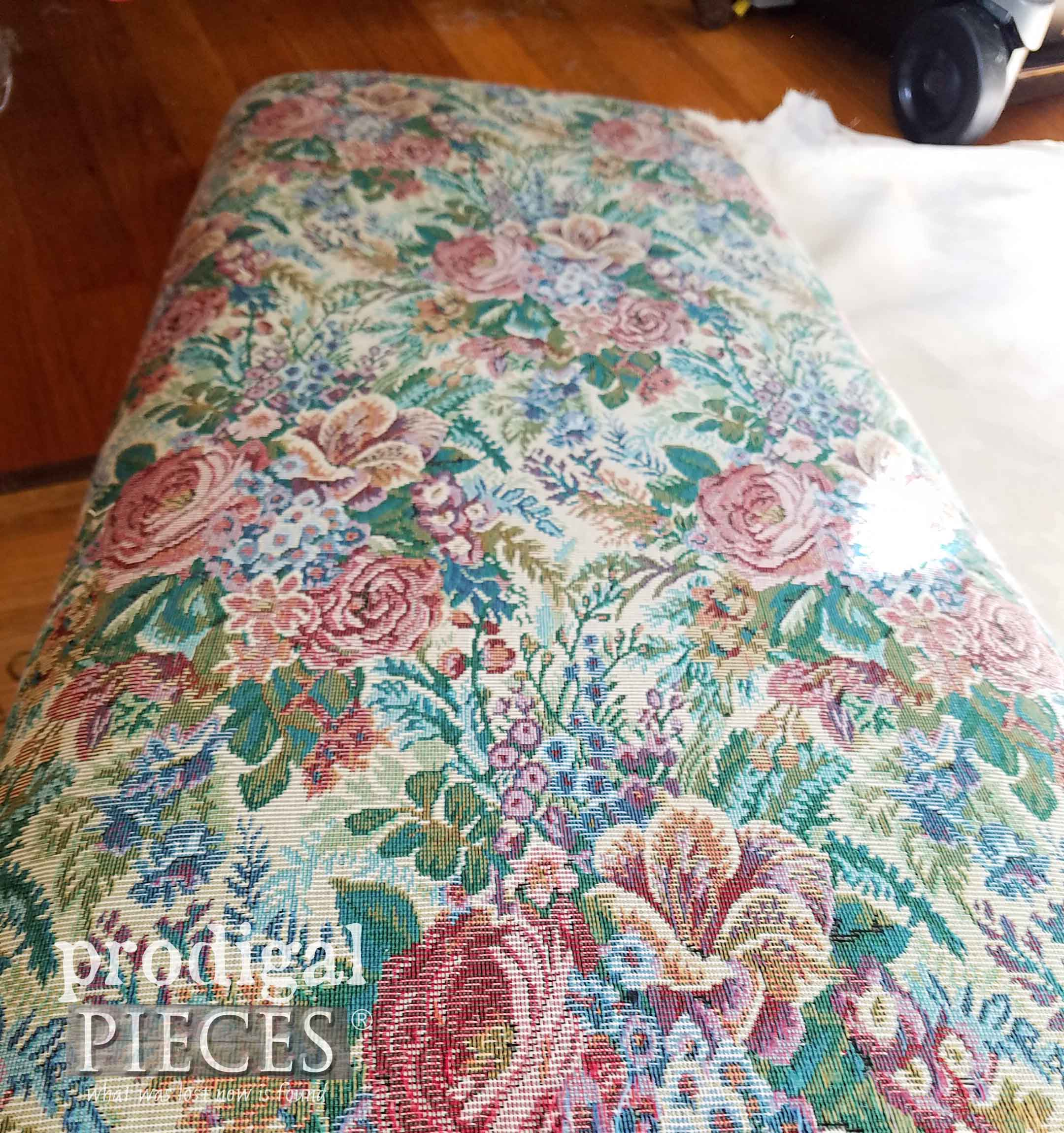 Original Vintage Tapestry Fabric on Bench | prodigalpieces.com