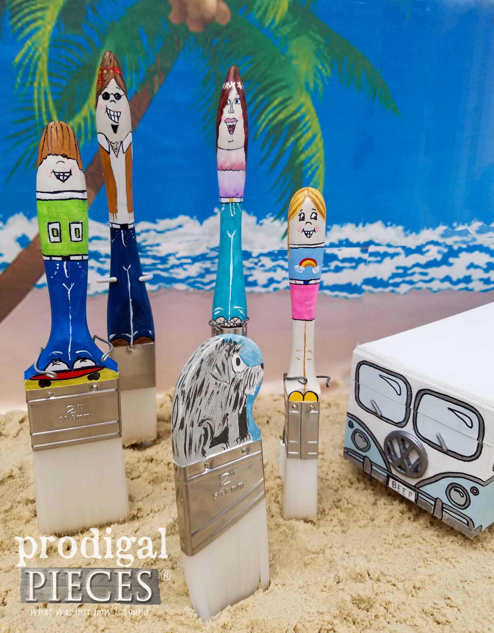 Hippie Paint Brush Family with Volkswagen Bus by Larissa of Prodigal Pieces | prodigalpieces.com