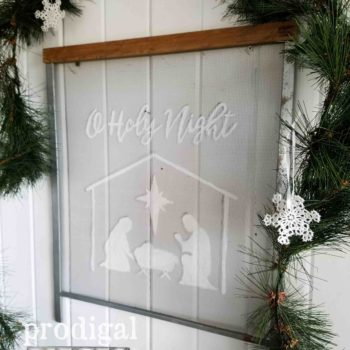 "Christmas Manger Scene ""O Holy Night"" Window Screen Wall Art 