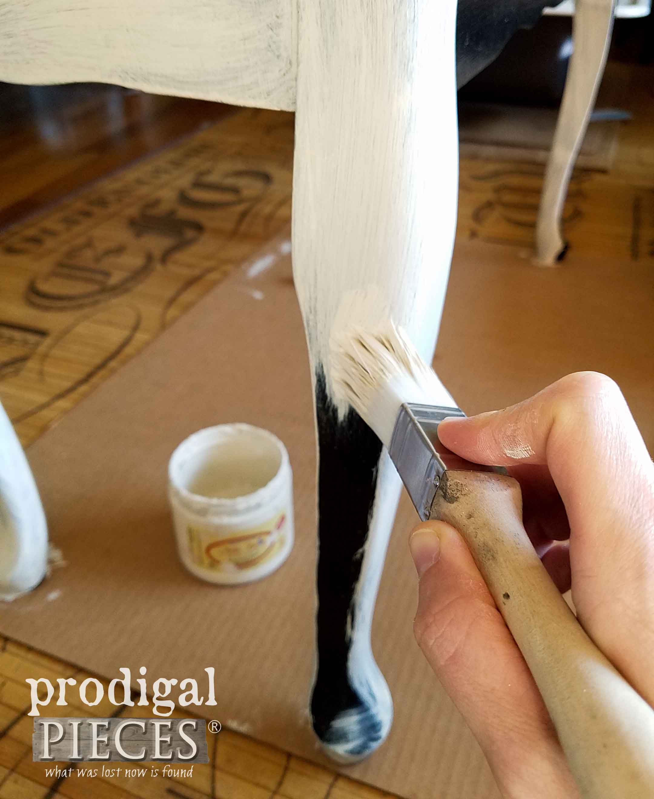 Painting Upholstered Bench Legs with Dropcloth Chalk Mineral Paint by Dixie Belle via Prodigal Pieces | prodigalpieces.com