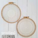 Vintage Pair of Handmade Doily Wall Art in Embroidery Hoops | Available at Prodigal Pieces | prodigalpieces.com