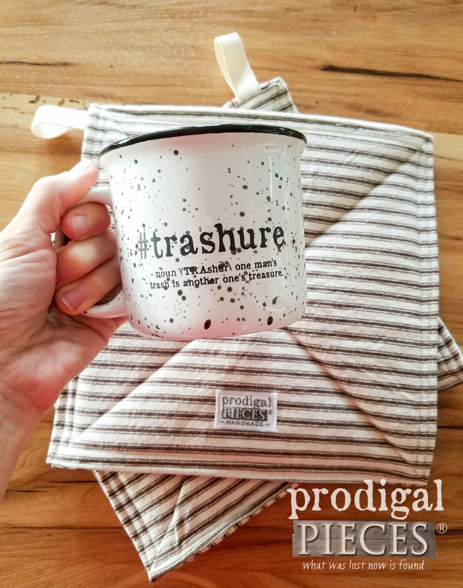 Handmade Farmhouse Ticking Potholders and Campfire Mug Giveaway by Prodigal Pieces | prodigalpieces.com