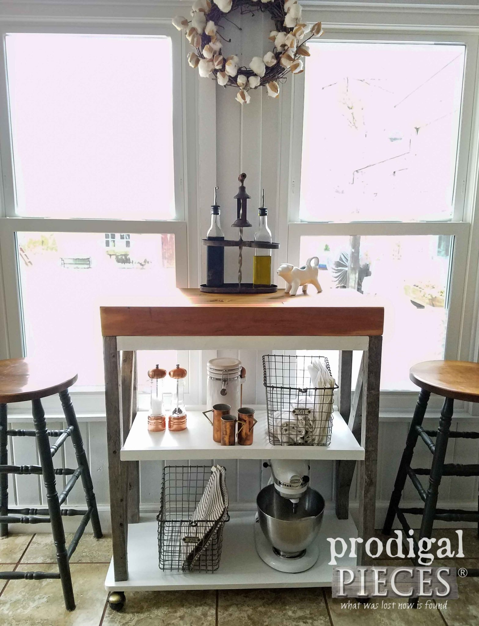 Farmhouse Style Butcher Block Storage Cart made by Larissa of Prodigal Pieces. Available at prodigalpieces.com