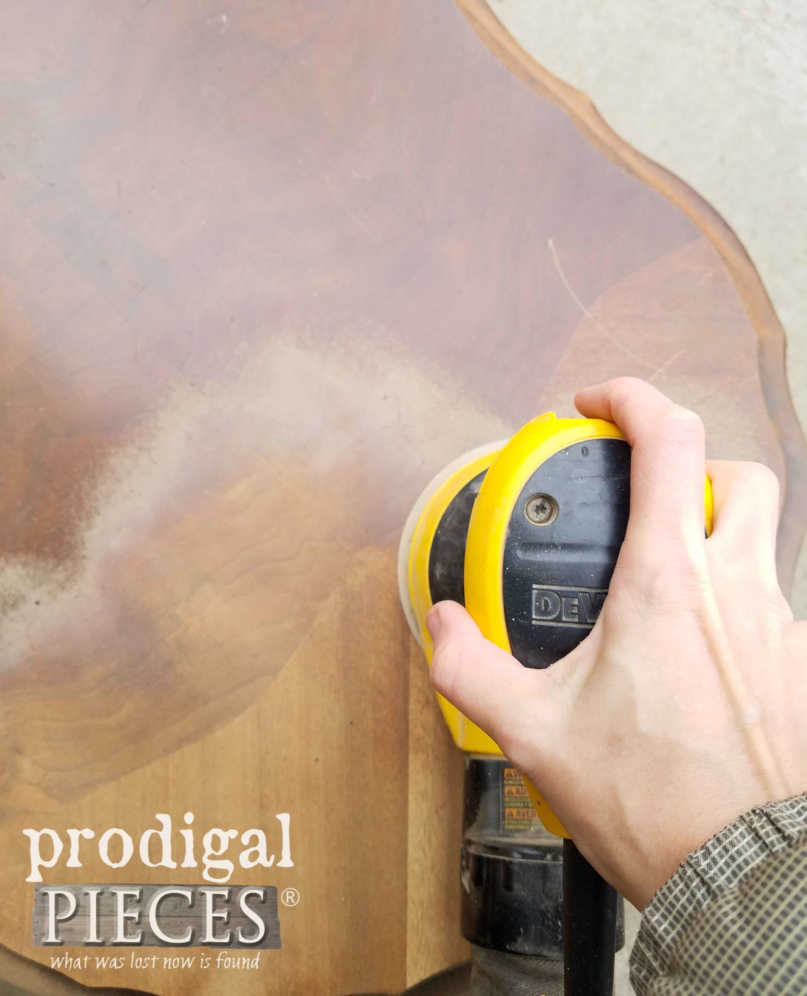 Sanding Down Table Top with DeWalt Sander by Prodigal Pieces | prodigalpieces.com