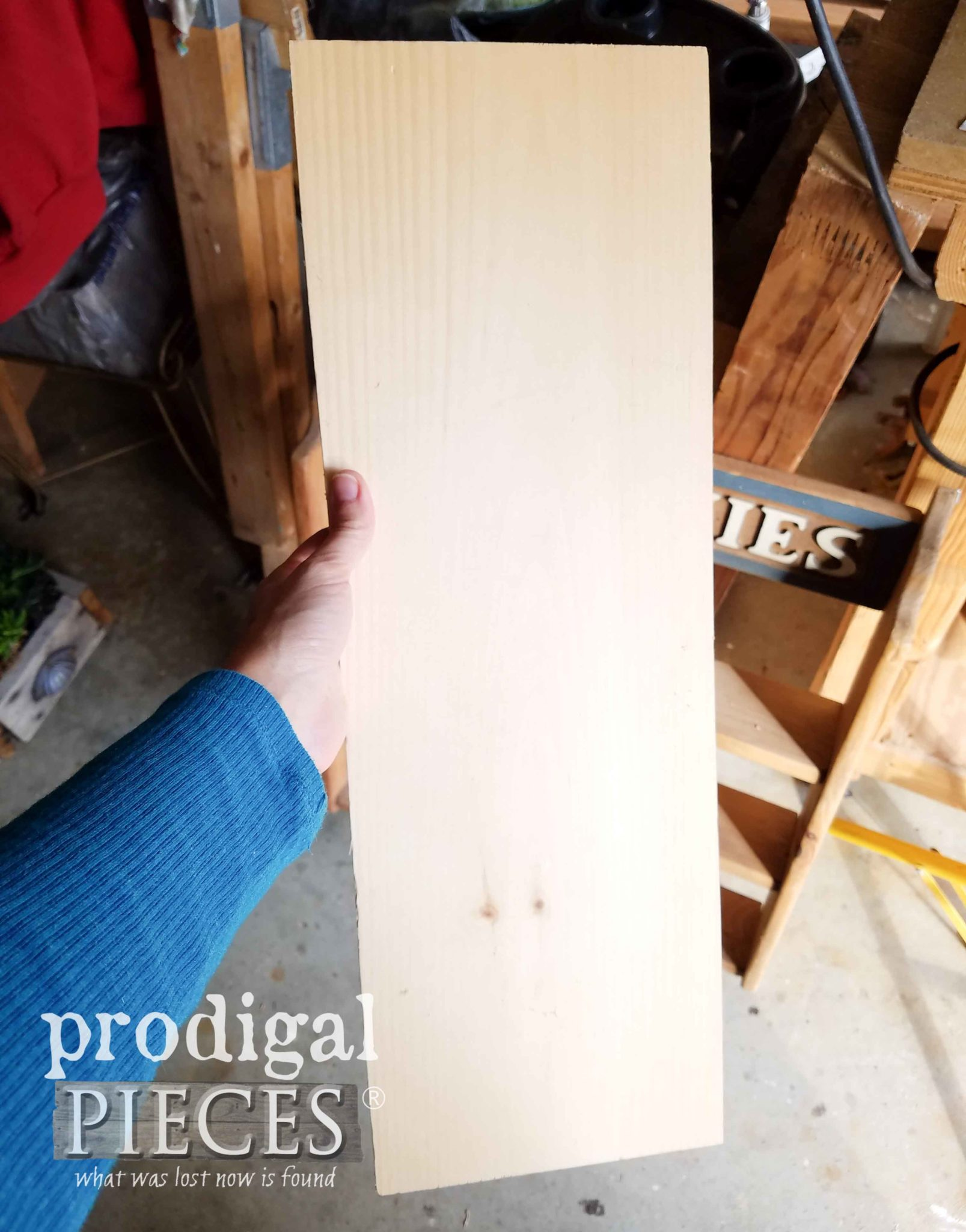Scrap Wood Board for Beanie Baby Shelf | prodigalpieces.com