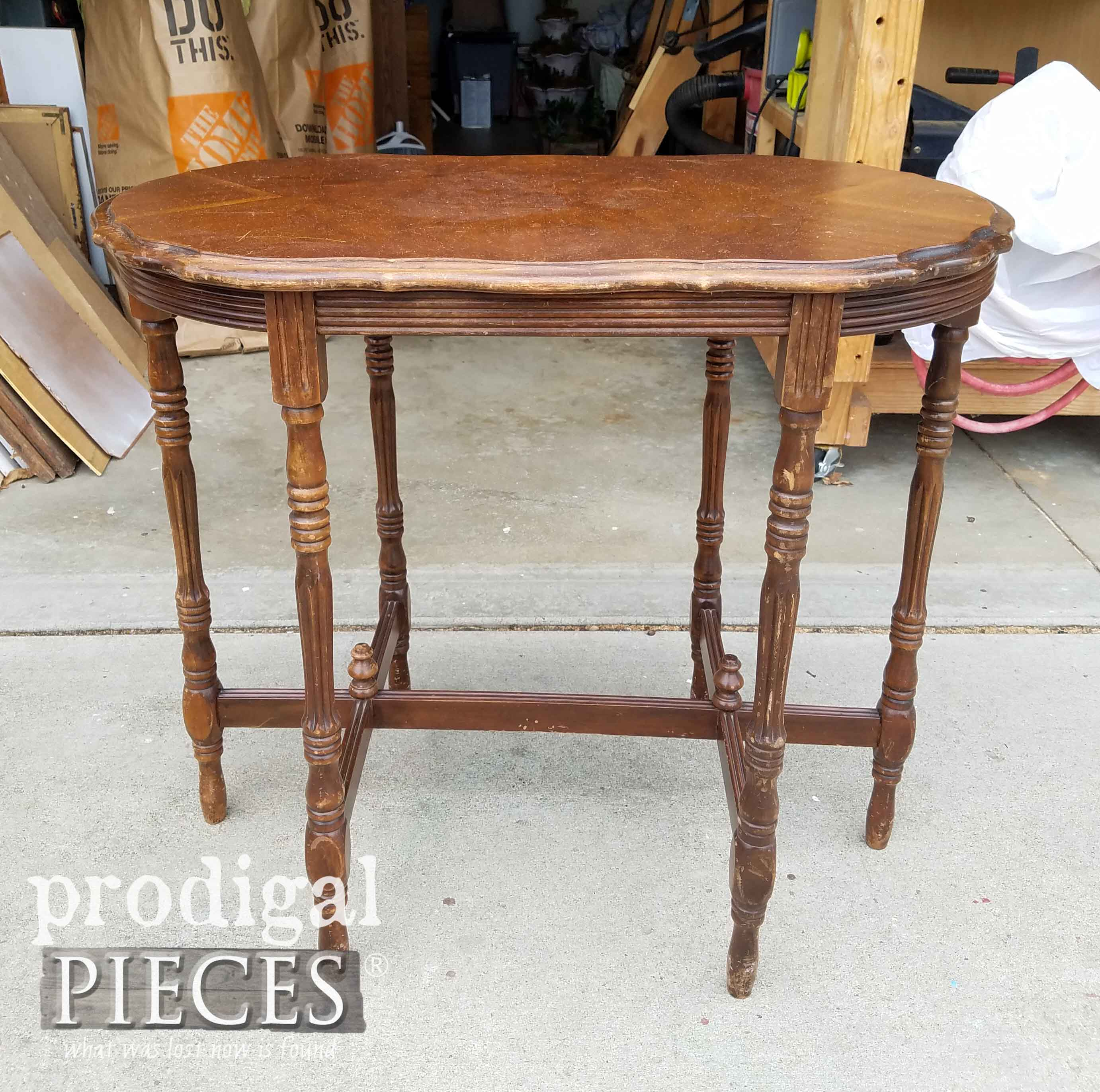 Antique Side Table Before Makeover by Prodigal Pieces | prodigalpieces.com