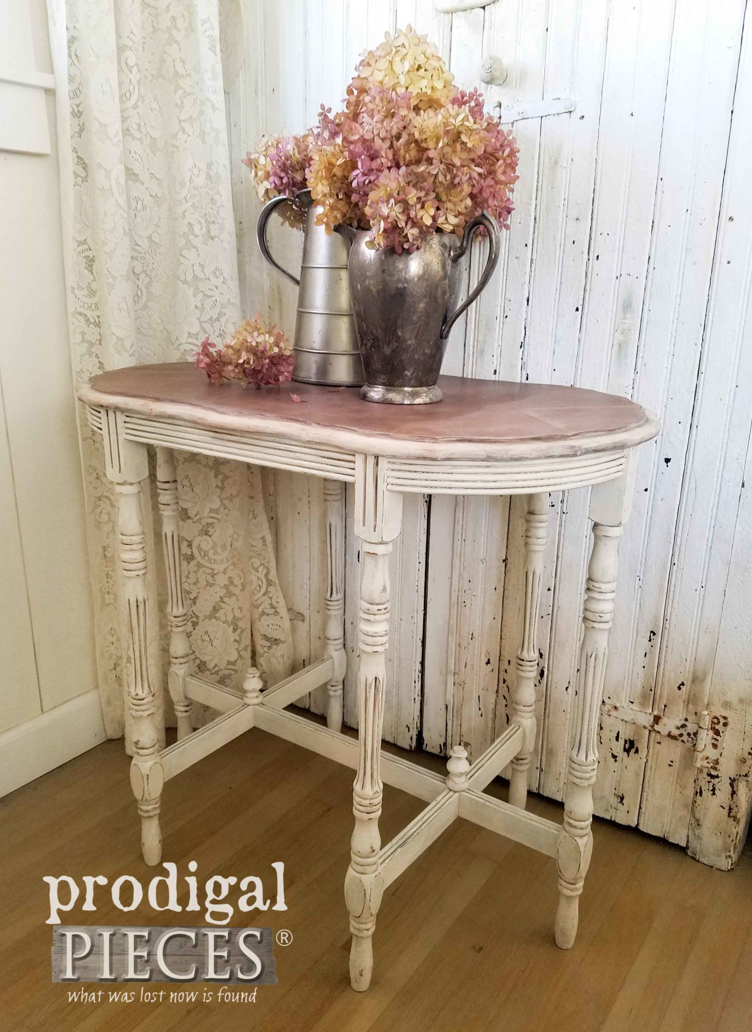 Antique Side Table with Hydrangea Flowers by Prodigal Pieces | prodigalpieces.com