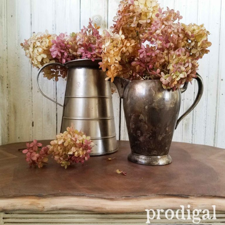 Hydrangea Arrangements in Pewter and Steel Pitchers. Beautiful display by Larissa of Prodigal Pieces | prodigalpieces.com