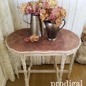 Antique Table with Gorgeous Wood Inlay by Larissa of Prodigal Pieces | prodigalpieces.com